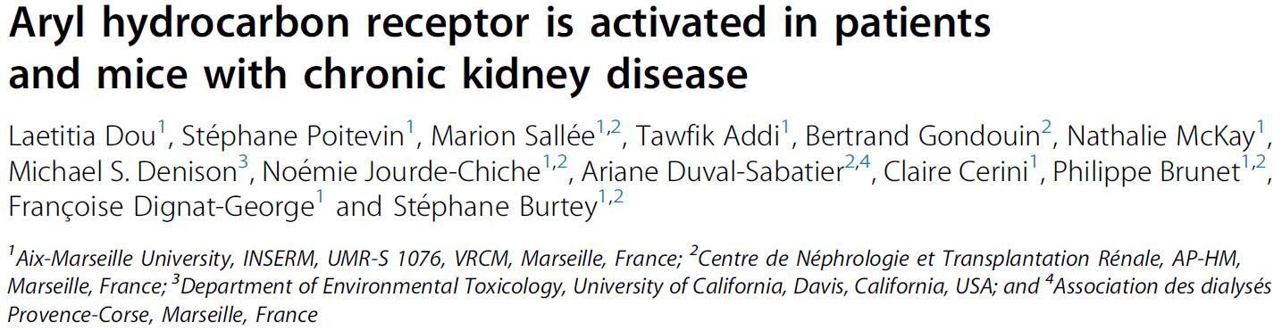 Aryl hydrocarbon receptor est activé chez les patients et les souris avec une maladie rénale chronique.